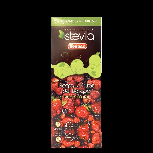 Xocolata Negra amb Fruits del Bosc i Stevia (125g) Torras