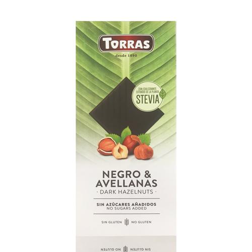 Xocolata Negra Avellana Stevia (125 g) Torras