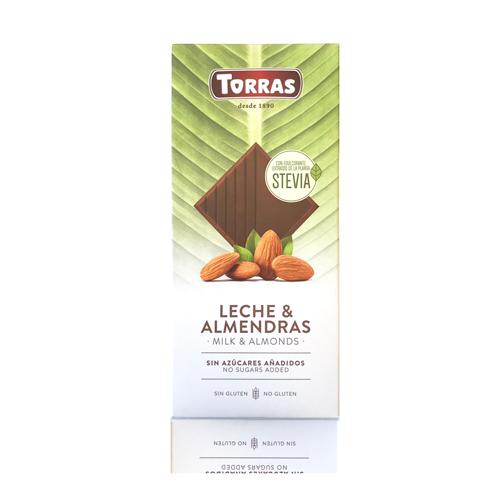 Chocolate Stevia con leche y almendras (125 g) Torras