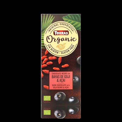 Xocolata Negre Orgànic de Baies de Goji i Açai (100 g) Torras