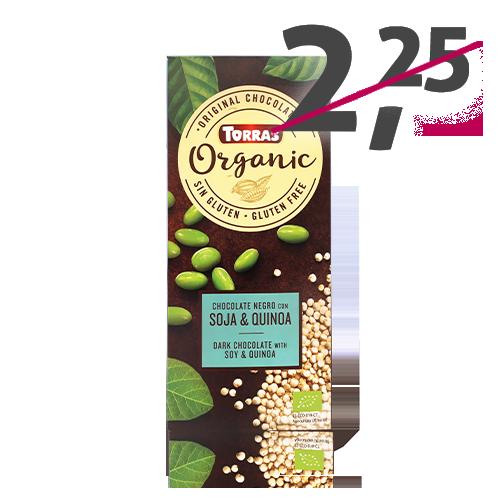 Chocolate Orgánico Negro de Soja y Quinoa (100 g) Torras