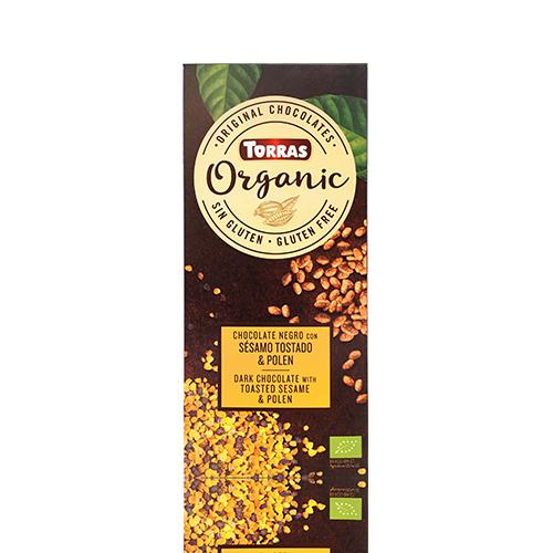 Xocolata Orgànic Negra de Sèsam Torrat i Pol.len (100 g) Torras
