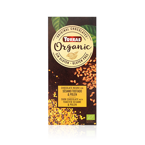 Chocolate Orgánico Negro de Sésamo Torrado y Polen (100 g) Torras