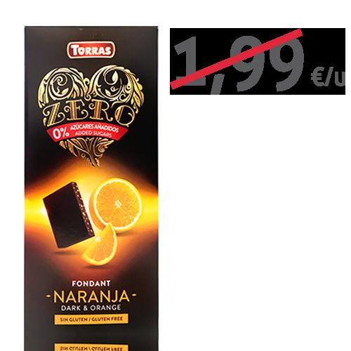 Chocolate Negro Zero de Naranja  (125g) Torras