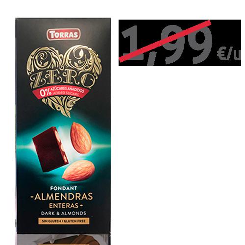 Chocolate Negro de Almendra Entero Zero (150 g) Torras