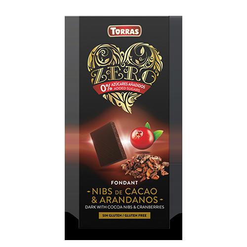 Xocolata Negra Nibs de Cacau amb Nabius Zero (125 g) Torras