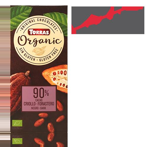 Chocolate Orgánico Negro 90% Cacao Criollo (100 g) Torras