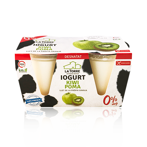Iogurt Desnatat de Poma/Kiwi pack (2x125g) La Torre