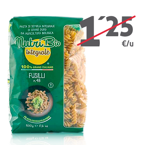 Fusilli Intregral (500 g) Nutribio