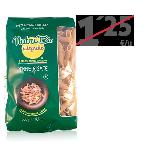 Penne Rigate Integral (500 g) Nutribio