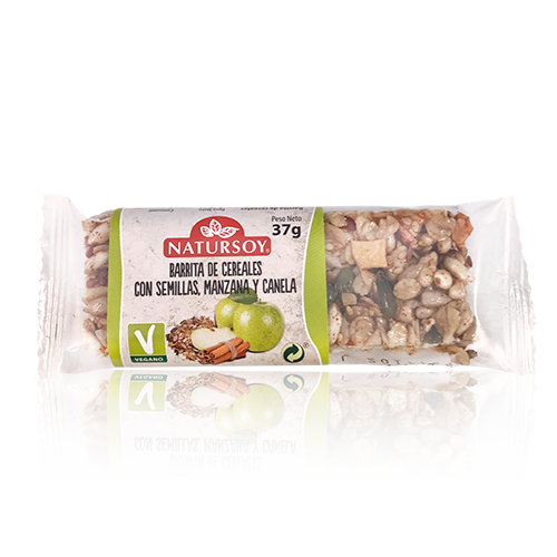 Barreta de Cereals amb Llavors, Poma i Canyella (40 g) Natursoy