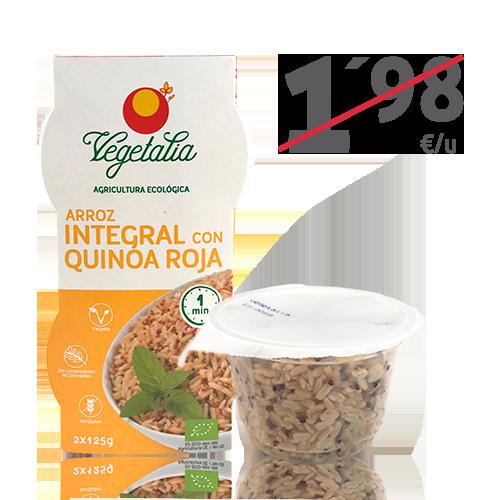 Arroz Integral y Quinoa Roja Vaso (2x125 g) Vegetalia