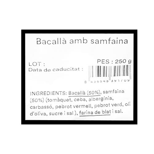 Bacallà amb Samfaina (250 g) Mas el Guiu