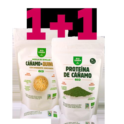 1+1 Llavors Cànem i Quinoa amb Amarant Inflat + Proteïna de Cànem EcoCanem