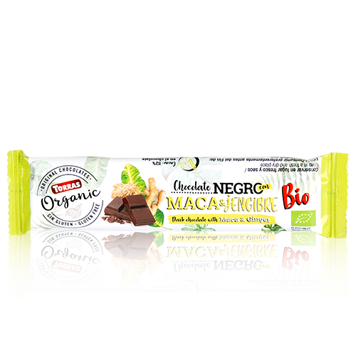 Xocolata Orgànic Barreta Negra amb maca i gingrebre (25g) Torras