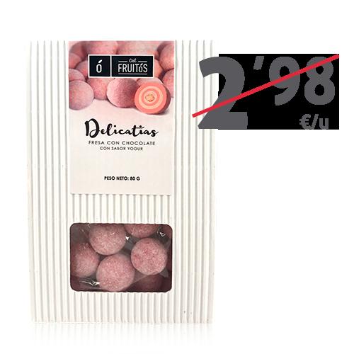 Delicatias de maduixa amb xocolata (80 g) Cal Fruitós