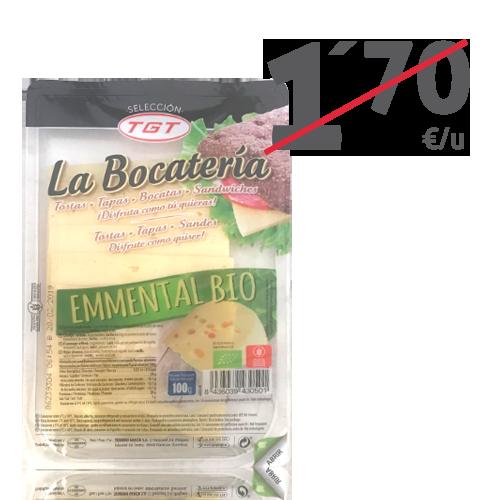 Queso Emmental Bio Lonchas (100 g) La Bocatería