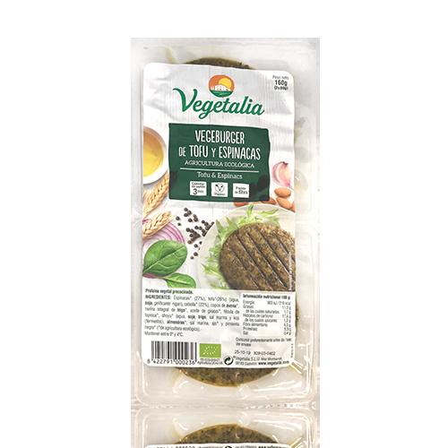 Vegeburguer Tofu i Espinacs Bio (160 g) Vegetalia