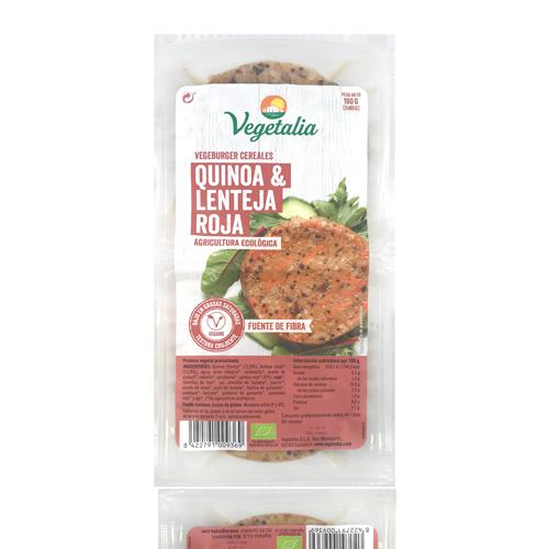 Vegeburguer Llenties i Quinoa Bio (160 g) Vegetalia