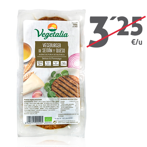 Vegeburguer Seitán y Queso (160g) Vegetalia