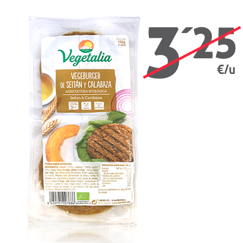 Vegeburguer Seitán y Calabaza Bio (160 g) Vegetalia