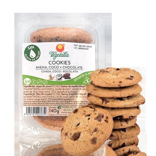 Cookies de Avena, Coco y Chocolate Bio (140g) Vegetalia