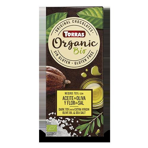 Chocolate Organic Negro 70% Cacao con aceite de oliva y flor de sal (100 g) Torras