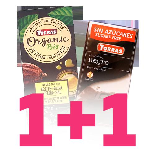 1+1 Xocolata Orgànic Negre 70% Torras
