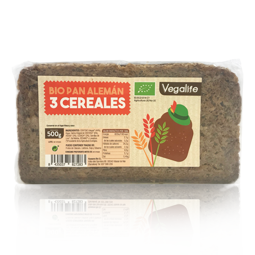 Pan Aleman 3 cereales (500 g) Vegalife