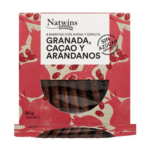 Barrita de Avena con Granada, Cacao y Arándanos (80 g) Natwins
