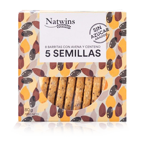 Barrita de Avena 5 Semillas (80 g) Natwins