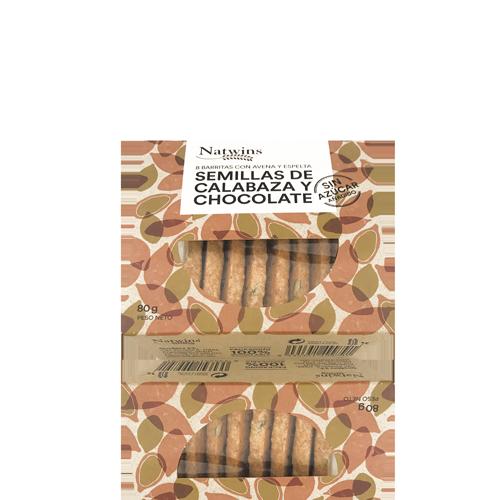Barreta de Civada amb Llavors de Carbassa i Xocolata (80 g) Natwins