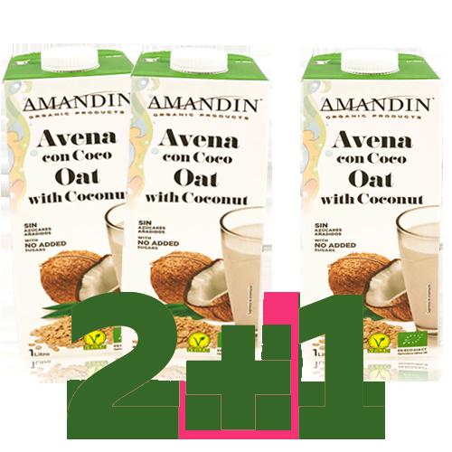 2+1 Bebida de Avena con Coco Bio (1 l) Amandin