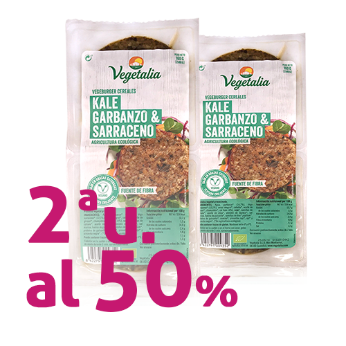 Pack 2 u.  Vegeburguer Garbanzo y Kale Bio (160 g) Vegetalia