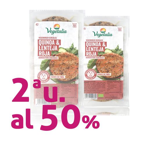 Pack 2 u.Vegeburguer Llenties i Quinoa Bio (160 g) Vegetalia