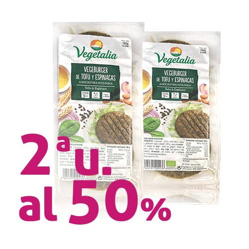 Pack 2u. Vegeburguer Tofu i Espinacs Bio (160 g) Vegetalia