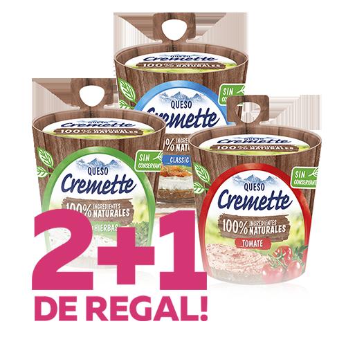 2+1 de regalo Queso para Untar Cremette Premium Hochland (natural, finas hierbas, tomate)