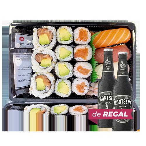 Combinado Sushi 2 + de Regalo 2u. Cerveza Negra (33 cl) Montseny