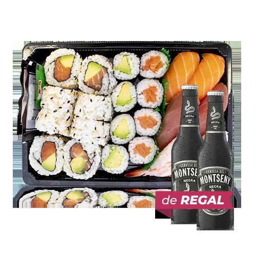 Combinado Sushi 19 + de 2u.Regalo Cerveza Negra (33 cl) Montseny
