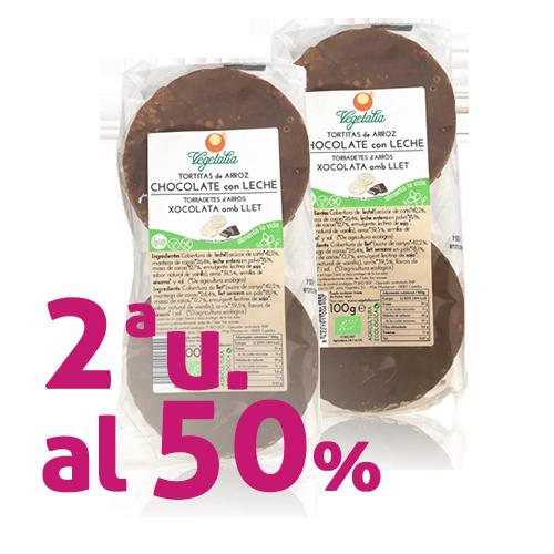 Pack 2u. Coques d'Arròs amb Xocolata amb llet (100 g) Vegetalia