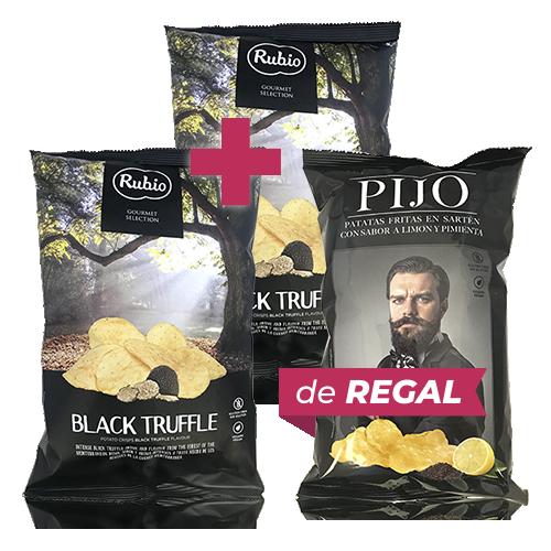 Pack 2u.  Patates Fregides Tòfona (110 g) Rubio + de Regal Patates Fregides Llimona i Pebre (130 g) Pijo