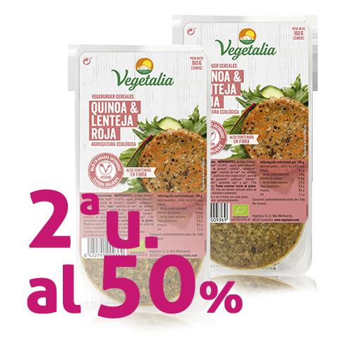 Pack 2u. Vegeburguer Llenties i Quinoa Bio (160 g) Vegetalia