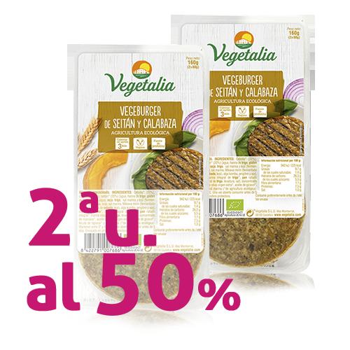 Pack 2u. Vegeburguer Seità i Carbassa Bio (160 g) Vegetalia