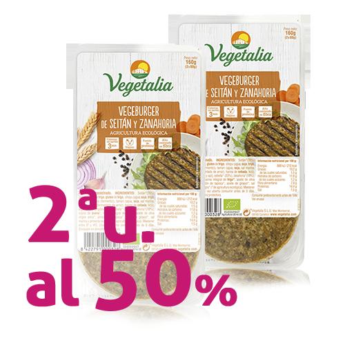 Pack 2u. Vegeburguer Seità i Pastanaga Bio (160 g) Vegetalia