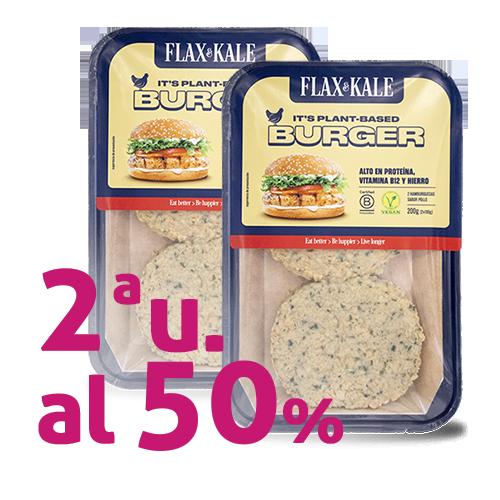Pack 2u. Carn Vegana Burger sabor Pollastre 2u Flax&Kale