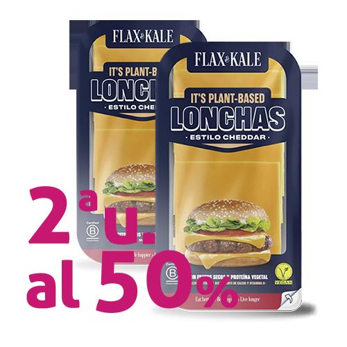 Pack 2u. Queso Vegano Lonchas Cheddar 100g Flax&Kale